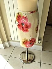 LAURA ASHLEY 100% LINEN, LINED, PENCIL SKIRT. ROSE PATTERN. STUNNING. SIZE 12