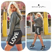 "🆕SPIRITUAL GANGSTER ""LOVE"" Biker Shorts Women Sm Black White Yoga Compression"