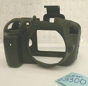 Black Soft Silicone Armor Skin Case Camera Cover For Nikon D3300 D3400