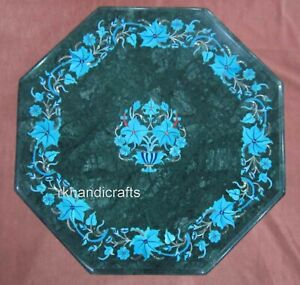 12 Inches Green Marble Inlay Table Top with Turquoise Stone Work Coffee Table