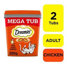 More details for 2 x 350g dreamies adult cat treats tubs with chicken cat biscuits (700g)