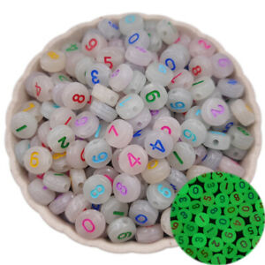 20/50Pcs Noctilucous Star Moon Letter Number Loose Beads DIY For Jewelry Making