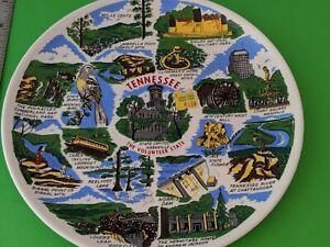 Vintage Souvenir Plate Tennessee  Clingman's Dome, Norris Dam, Memphis