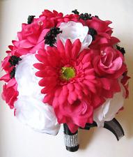 17 pc Wedding Bouquet Bridal Silk flowers FUCHSIA DAISY WHITE BLACK centerpieces