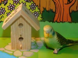 Dollhouse Green Parakeet Replica with a wooden bird house Diorama
