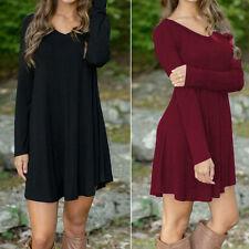 Women Autumn Winter Casual Long Sleeve Evening Party Cotton V-Neck Short Dress