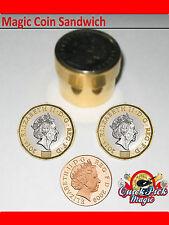 NEUF magique cuivre pièce de monnaie SANDWICH - 1P magnétique Livre Tour Magie
