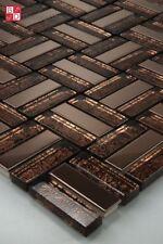 Pâte de verre acier inox mosaïque carrelage Carreaux brun 1 m²