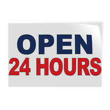 Decal Stickers Open 24 Hours Blue Red Vinyl Store Sign Label Business