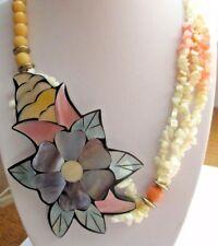 collier bijou vintage perles naturelle pastel fleur en nacre de couleur 1724