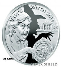 Wizards of US # 4 - 1 oz Vote Witch 2016 Proof Silver Shield Hitlery Trump MAGA