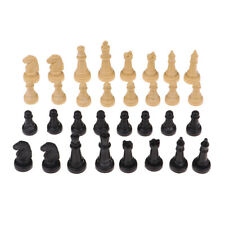 Set of 32 Plastic 2in Chess Pieces Only Board Accessories Parts Wood/Black