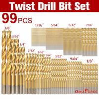 """Drillforce 99PCS Drill Bit Set 1/16""""-3/8"""" HSS Titanium Multi Bits Metal Tools"""