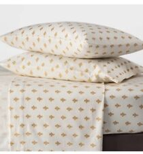 Threshold Twin Printed Fall Flannel 4-Piece Sheet Gold Flower New