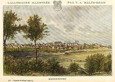 MERSEBURG - GESAMTANSICHT - Malte-Brun - kolorierter Holzstich 1885-88
