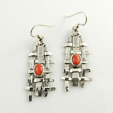 Unique Modern Orange Spiny Oyster Sterling Silver Dangle Earrings