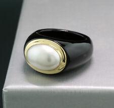 Schwarzer Achat-Ring weiße Mabeperle 585-Gelbgold Wert 1100 € Neu