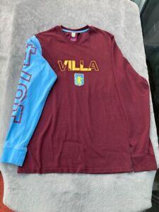 mens aston villa Long Sleeve T Shirt Size Small
