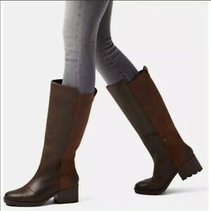 SOREL Cate Tall Knee High Boot Brown Suede Leather Size 6