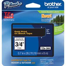 """Brother TZe344 3/4"""" 18mm Gold on Black Ptouch TZ tape PT2030 PT2030VP PTH300"""