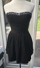 Superdry 50s Prom Dress Black Strapless Jewelled Size S Small Lace Short NEW