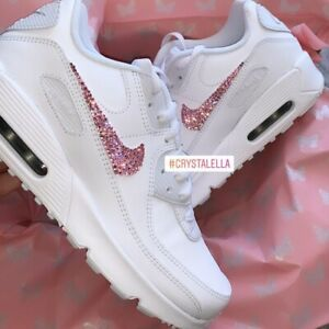 Crystal Nike Air Max 90's in White with All Four Ticks Crystallised in Pink