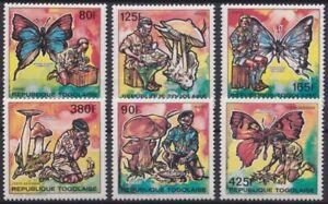 F-EX24381 TOGO MNH 1990 BOYS SCOUT BUTTERFLIES PAPILLON MARIPOSAS HONGOS.
