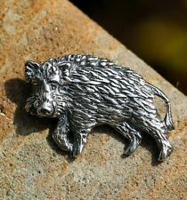 WILD BOAR Sterling Silver Pendant Necklace Pig Animal Forest Woodland Jewelry