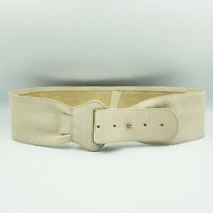 Witchery Size S Cream Beige Soft Leather Wide Loop Waist Belt 77cm-87cm