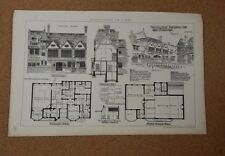 Antique Architects print small Club house The building News 1882