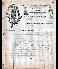 """GOUZON (23) TAILLEUR de PIERRES & MARBRERIE / MONUMENTS """"G. FROMENTIN"""" en 1911"""