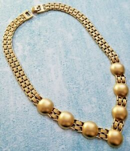 Signed Monet ~ Vintage Gold Tone Metal Choker Necklace ~ GT Metal Cabs