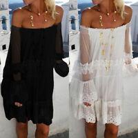ZANZEA Women Bell Sleeve Lace Crochet Mini Dress Summer Beach Shirt Dress Plus