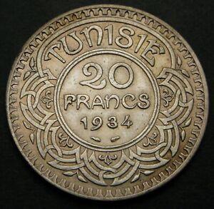 TUNISIA 20 Francs AH 1353 (1934) (a) - Silver - XF - 1025
