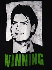 Official Charlie Sheen Winning Black Graphic 100% Cotton T Shirt Size Small