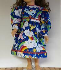 23 inch My Twinn doll dress royal blue with unicorns and rainbows handmade new