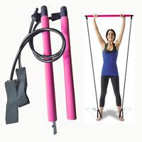 Portable Pilates Bar Stick Fitness Exercise Bar Yoga Gym Stick w/Resistance Band
