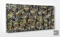 😎Quadro Astratto Pollock Blue Poles Stampa su Tela Vernice Dripping Materico👈