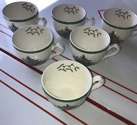 "Vintage Spode ""Christmas Tree"" Design Coffee Tea Cup Set of 6 Green Trim On Rim"