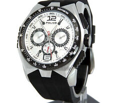 POLICE WATCH MEN HURRICANE MULTIFUNCTION SOLID STEEL RUBBER 46mm PL-12894JSSB/04