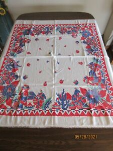 """VINTAGE COTTON TABLECLOTH, MEXICAN THEME, GREAT COLORS, 45X50"""", TATTED EDGE :("""
