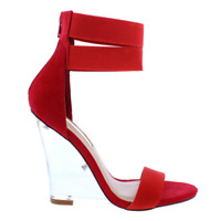 So Me CHRISTEL Red Faux Leather Open Toe T-Strap Transparent Clear Toe Band Heel