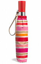 COACH Pink Multi-Color Striped PEYTON Automatic Retractable Umbrella F62572