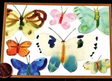 Beautiful Watercolor Butterflies Gold Border  Small Blank Greeting Note Card NEW