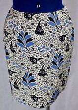 Petite Sophisticate 4 Skirt Black Blue Floral Lined Short Straight Pencil Modest