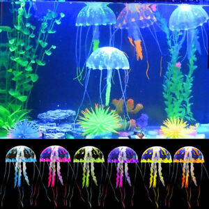 Neon Leuchtende Qualle Neonfarbig Aquarium Fishtank Silikon Jellyfish Dekoration
