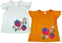 Girls Strawberry Fruit Flower Frill Summer Cotton T-Shirt Top 3 to 10 Years
