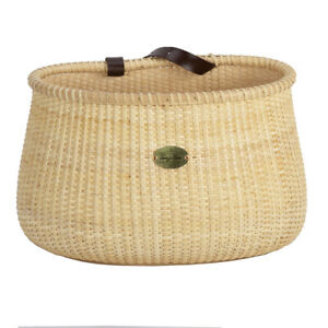 Teng Tian Bicycle Basket Cane Woven Copper Leather Straps and Buckle with Basket
