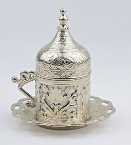 Turkish Ottoman Coffee Cups Traditional Saucer & Porcelain insert Free Shipping