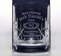 Personalised JACK DANIELS BIRTHDAY Crystal Glass Tumbler Gift 18th/21st/30th